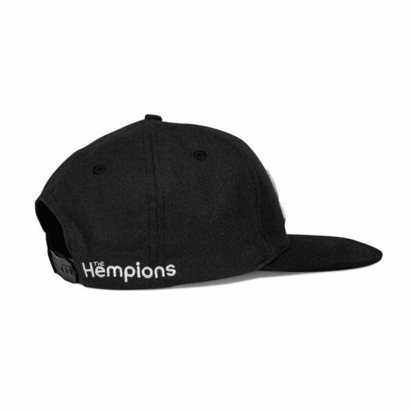 Hempions Hanf-Cap in schwarz Produktfoto seitlich